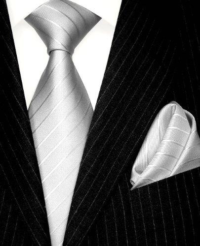 LORENZO CANA Luxury Silk Woven Handmade Tie Hanky Set Silver Stripes 8429402