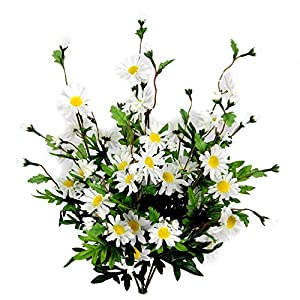 Admired By Nature Artificial Full Blooming Daisy Flowers, Flower Buds & Greenery for Home, Wedding & Office Decoration Arrangement, 6 Stems (2 Pieces) 113