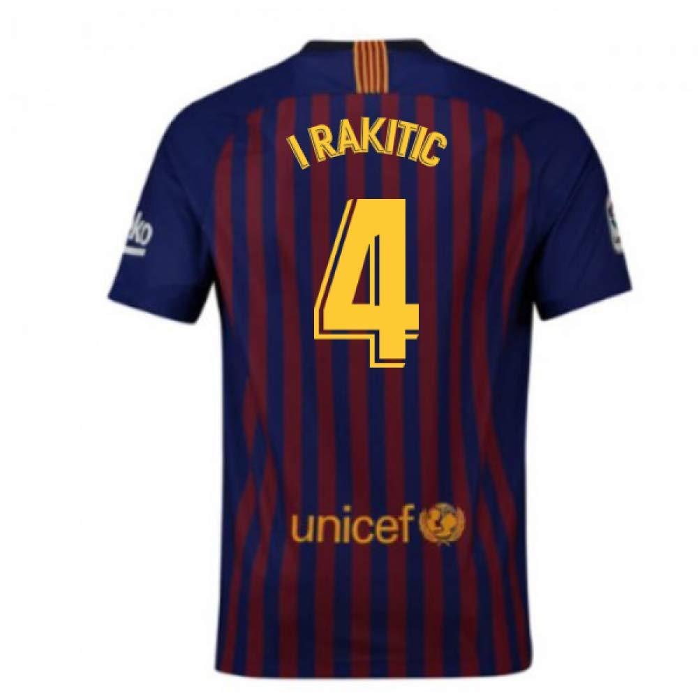 2018-2019 Barcelona Home Nike Football Soccer T-Shirt Trikot (Ivan Rakitic 4) - Kids