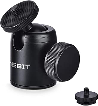 UTEBIT 自由雲台 ボールヘッド 1/4ネジ付き ボール雲台 360度回転可能 パノラマ雲台 底面径35mm 耐荷重量5KGまで アルミ製 ストロボ フラッシュ 一眼レフ 自由雲台 ライトスタンド ビデオ カメラ 三脚 一脚 DSLR等対応