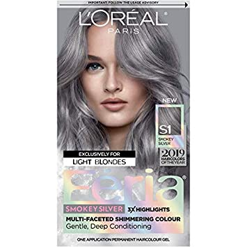 L'Oreal Paris Feria Multi-Faceted Shimmering Permanent Hair Color, Smokey Silver