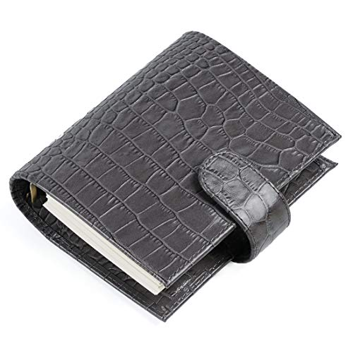 Moterm Classic Croc Print Genuine Leather Organizer Agenda 6 Ring Binder Planner with Lined Refills (A7 Size, Grey)