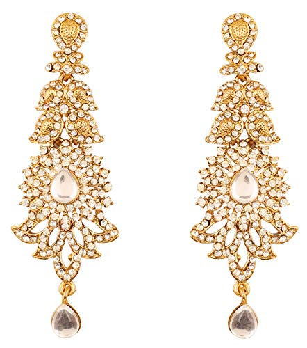 - Touchstone Indian Bollywood paisley Rhinestone designer bridal jewelry earrings for women in antique gold tone