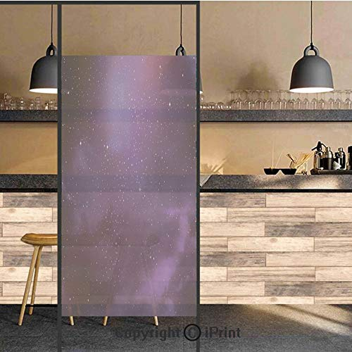 3D Decorative Privacy Window Films,Galaxy Nebula Illustration Deep Space Star Clusters and Constellation Milky Way Decorative,No-Glue Self Static Cling Glass film for Home Bedroom Bathroom Kitchen Off -