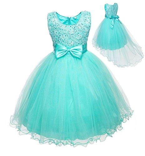[Kid Flower Girl Hi-low Hem Pageant Wedding Party Fancy Dress Blue SZ 5-9 Z643 (28(suitable for 7] (Kids Fancy Dress)