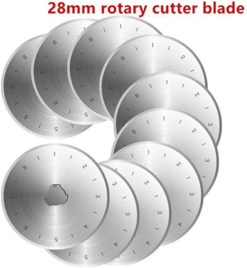 45MM//28MM jinclonder Replacement Rotary Cutter 10Pcs Steel Circular Rotary Refill Blades Patchwork Fabric Craft Sewing Quilting Fits Fiskars Schneider