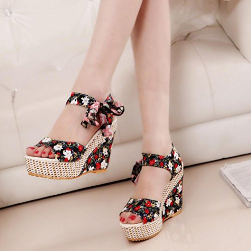 Sandalias de vestir, Ouneed ® Moda mujer ocio sandalias Peep-Toe mocasines zapatos Negro