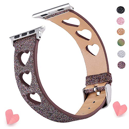 Glitter iWatch Band Compatible for iWatch Band 38MM 40MM, Shiny Soft Leather Watch Strap Women Girls Watch Belt with Love Shape Design Compatible iWatch Series 4 Series 3 Series 2 Series 1 (Coffee)