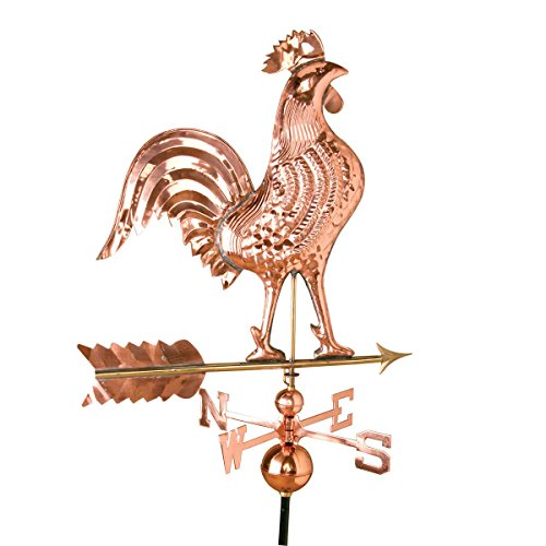 Large Polished Copper Rooster Weathervane Includes Adjustable Roof Mounting Bracket and 40
