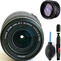 Canon 18-135mm IS STM Lens (WHITE BOX) + High Definition Telephoto Auxiliary Lens + Deluxe Lens Cleaning Pen + Deluxe Lens Blower Brush