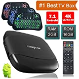 Android TV Box 7.1 2GB 16GB, Supporting 4k (60 HZ), Amlogic S905X 64-Bit Quad-Qore 2.4 Ghz Wifi, Coming With Light Keyboard (Li-on Batterry included)