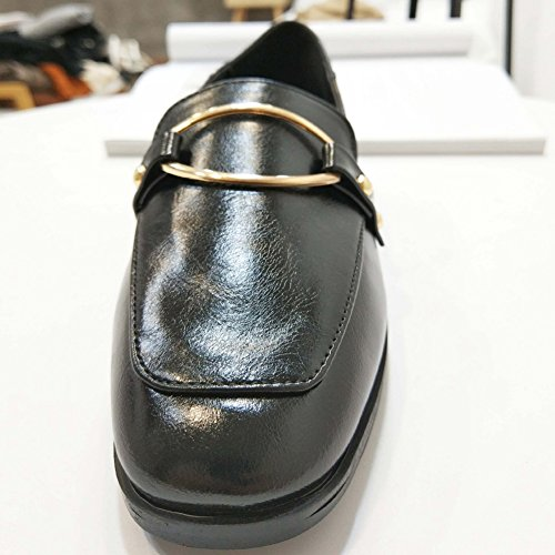T-july Clásico Para Mujer Mocasines Penny Comfort Hebilla Slip On Oxfords Conducción Casual Pisos Zapatos Negro