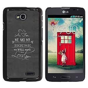 YOYOYO Smartphone Protección Defender Duro Negro Funda Imagen Diseño Carcasa Tapa Case Skin Cover Para LG Optimus L70 LS620 D325 MS323 - señor servir al dios religión cristiana