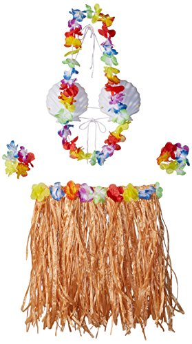 Hawaiian Summer Luau Party Adult Shell Top and Hula Skirt Kit Wearables, Orange, Plastic , 16