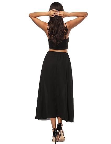 4d06ecd29 Queenromen Women's Drawstring High Waist Flared Skirt Pleated Long Midi  Skirt Casual A Line Skirt with Pocket Black XL: Amazon.co.uk: Clothing