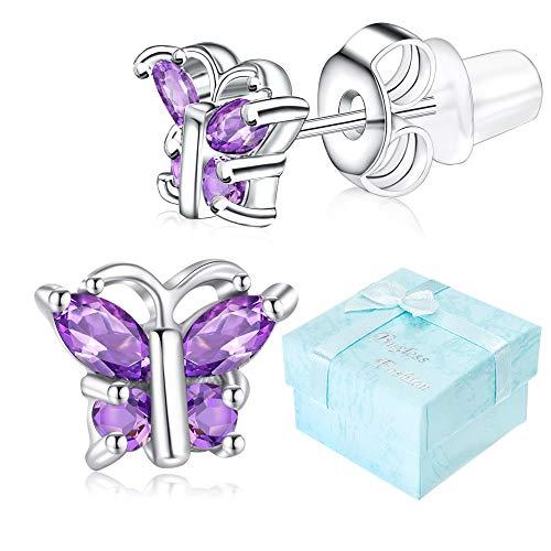 Buyless Fashion Girls Butterfly Birthstone Stud Earrings Cubic Zirconia Jewelry - E124BBFEB
