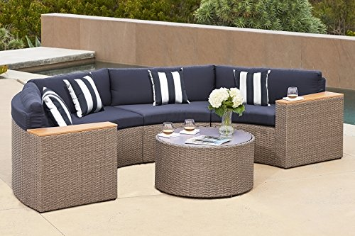 Solaura Outdoor 5-Piece Half-Moon Crescent Sectional Furniture Set All Weather Grey Wicker with Nautical Navy Blue Waterproof Cushions & Sophisticated Glass Coffee Table | Patio, Backyard, Pool (Sofa Round Ottoman)