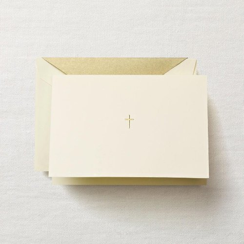 Crane & Co. Hand Engraved Ecru Gold Cross Note with Gold Lined Envelopes- Pack of 20 ()