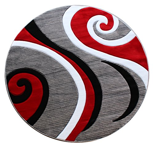 (Masada Rugs, Sophia Collection Hand Carved Area Rug Modern Contemporary Red White Grey Black (8 Feet X 8 Feet))
