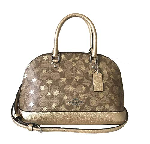 Coach Signature Pop Star Metallic Trim Mini Sierra Satchel SV/E7V Khaki Multi (Satchel Trim Handbag)
