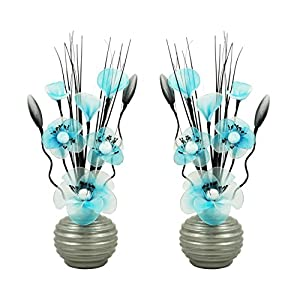 Matching Pair of Light Grey Vases with Teal Blue and White Artificial Flowers, Ornaments for Living Room, Window Sill, Home Accessories, 32cm 53