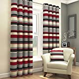 Cheap Tony's Textiles Pair Of Striped Lined Window Treatment Drapes Curtains With Eyelet Grommet Top 46″ Wide x 72″ Drop – Black Red Gray