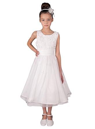 ca1b1bcaa094 Boutique-Magique Robe de Communion Blanche avec Fleurs - Robe Blanche Fille