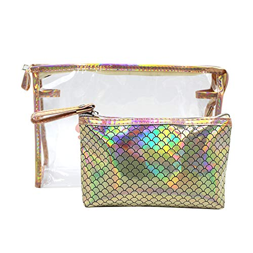2 in 1 Clear Mermaid Fish Scale Makeup Bag Travel Accessories Cosmetic Pouch Case Toiletry Wash Bag -