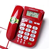 Telephone Fixed home old landline loud ringtone volume selection luminous button caller ID white blue red (Color : Red)