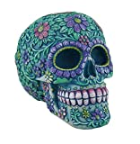Zeckos Resin Toy Banks Floral Day of The Dead Aqua and Purple Sugar Skull Coin Bank 5.25 X 4.25 X 3.75 Inches Blue