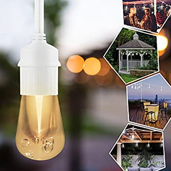 Enbrighten Vintage LED Café String Lights with Oil-Rubbed Bronze Lens Shade, White, 12ft, 6 Impact Resistant Lifetime Bulbs, Premium, Weatherproof, Indoor/Outdoor, UL Listed, 43379