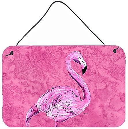 Carolines Treasures 8875DS812 Flamingo on Pink Aluminium Metal Wall or Door Hanging Prints 8x12 Multicolor