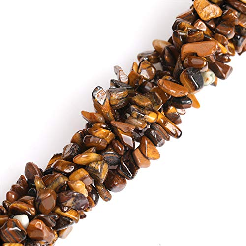 (6-8mm Tiger Eye Natural Stone Gravel Gemstone Chips Beads for Jewelry Making Loose Beads Wholesale Freeform Yellow Brown 34