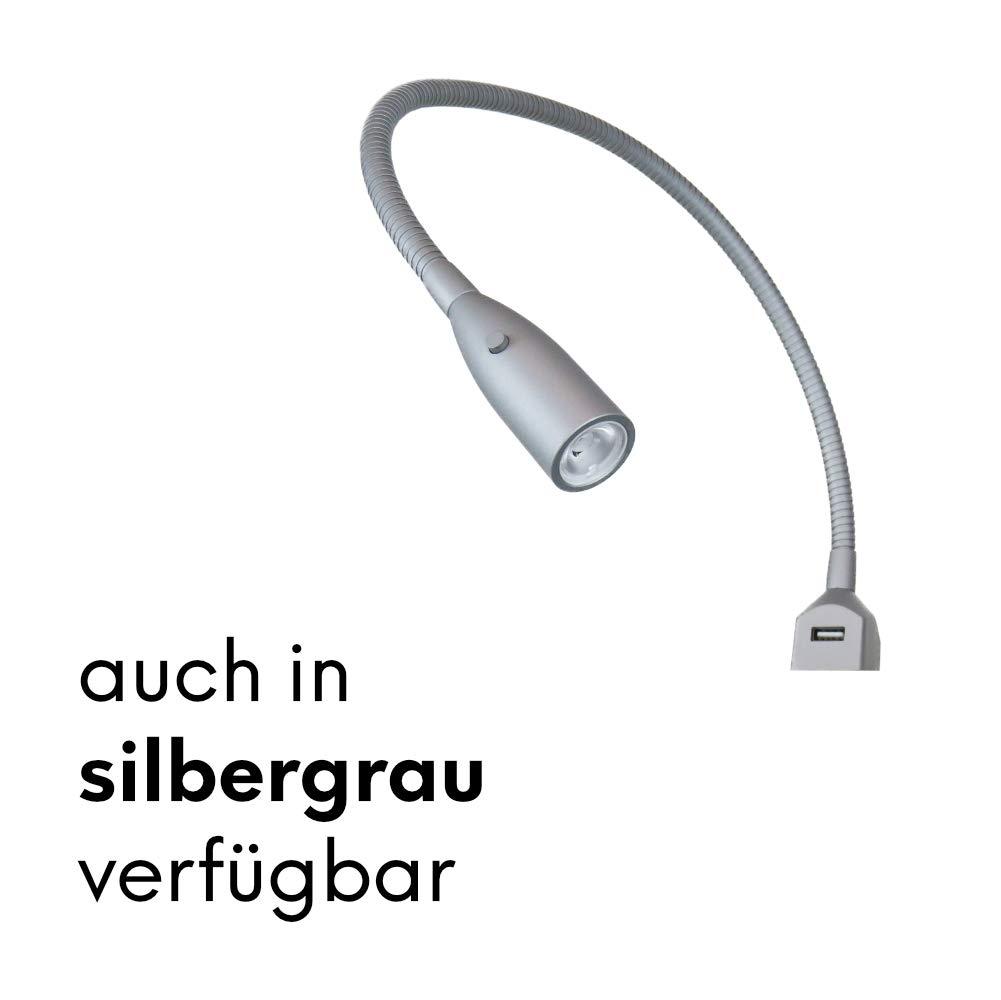 Flexible LED-Bettleuchte LED-Leseleuchte mit integrierter USB Ladefunktion alu eloxiert silbergrau silbergrau silbergrau (1er oder 2er Set alu eloxiert), Auswahl 2er Set silbergrau 0fe66b