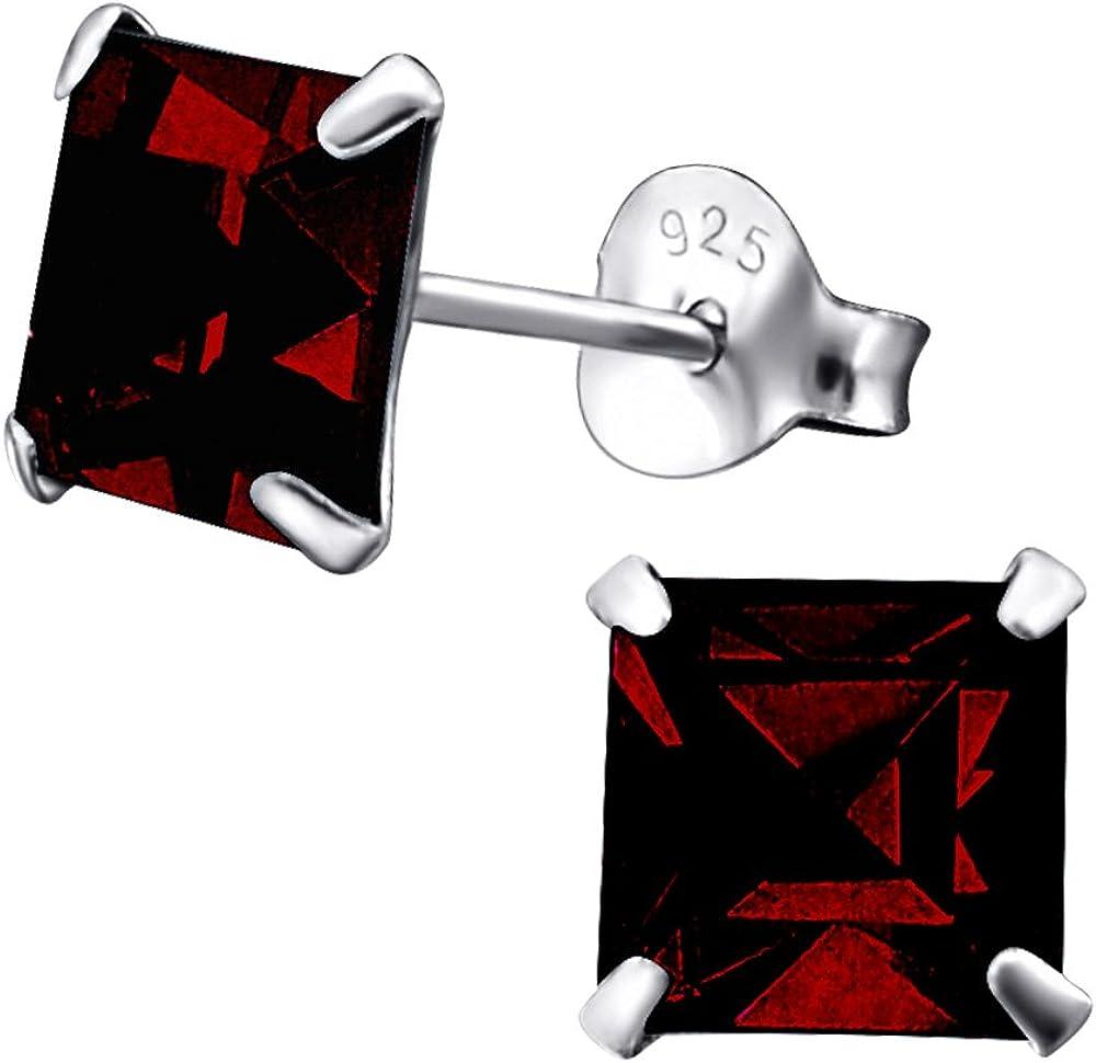 Laimons Pendientes para mujer Cuadrado Brillante Rojo Oscuro Brillante Plata de ley 925