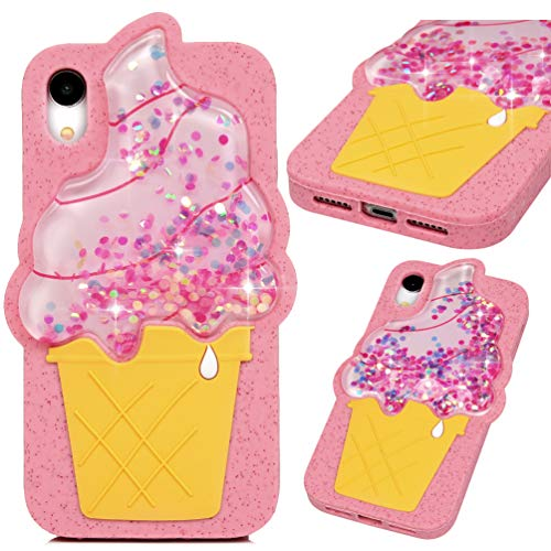 iPhone Xr Case, Pink Ice Cream Liquid Sparkle Glitter Diamond Clear TPU Shell Bling Design for Girl Woman Gifts Quicksand Cute Star Flowing Cover for iPhone Xr 6.1''