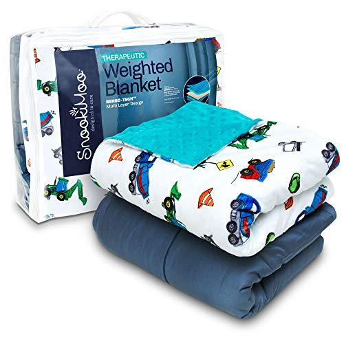 Cheap SnookiMoo Calming Weighted Blanket for Kids 5lbs - Heavy Minky Weighted Blanket | All Season Comforter with Deluxe Machine Washable Removable Cover & Non Toxic Glass Beads Black Friday & Cyber Monday 2019