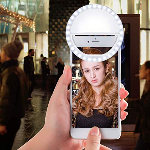 Meifigno Selfie Phone Camera Ring Light with [Rechargeable] 36 LED Light, 3-Level Adjustable Brightness On-Video Lights Clips On Night Makeup Light Compatible for iPhone Samsung Photography (White) by Meifigno (Image #5)