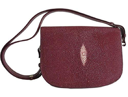 Drumsurn Imports Genuine Stingray Leather Large Saddlebag Style Handbag, Burgundy
