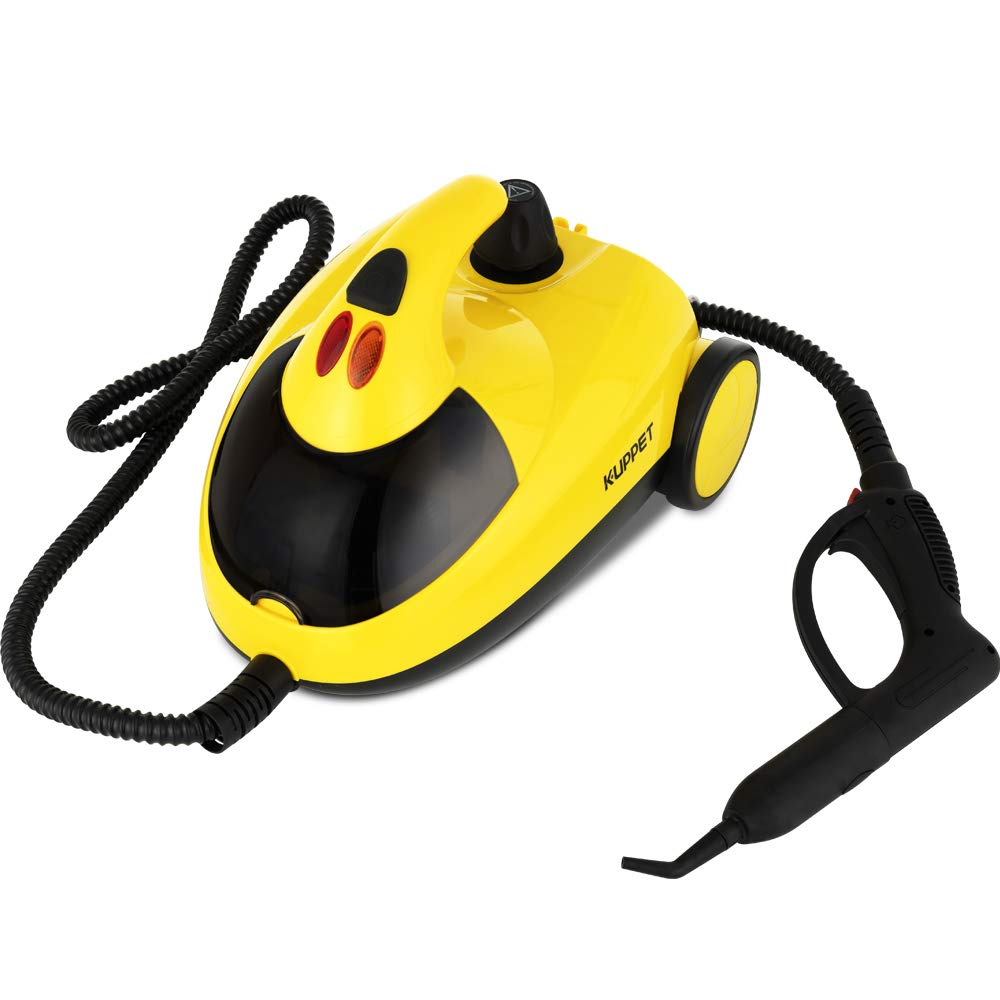 KUPPET Steam Cleaner with Various Accessories, 1.5L Water Tank 1500W, Multi-Purpose, Pressurized Steam Cleaning for Most Floors, Appliances, Carpe, Windows, Autos, and More, Yellow by KUPPET