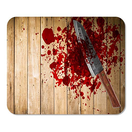 Suike Mousepad Computer Notepad Office Knife with of Blood on Wood Floor Halloween Bloody Murder Death Crime Killer Home School Game Player Computer Worker 9.5x7.9 Inch]()