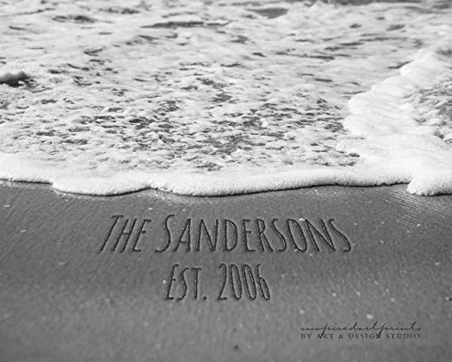 Family Names in the Sand Personalized Home Decor Art Print Photo or Canvas
