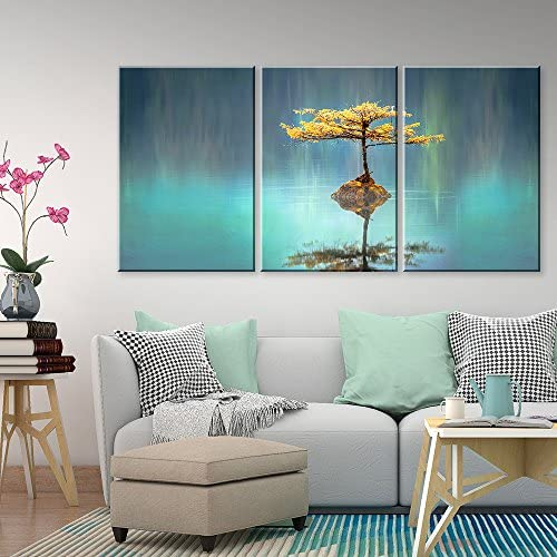 3 Panel Calm Lake with a Tree Growing on a Very Small Island x 3 Panels