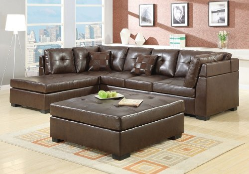 500686 Darie Leather Sectional Sofa With Left Side Chaise