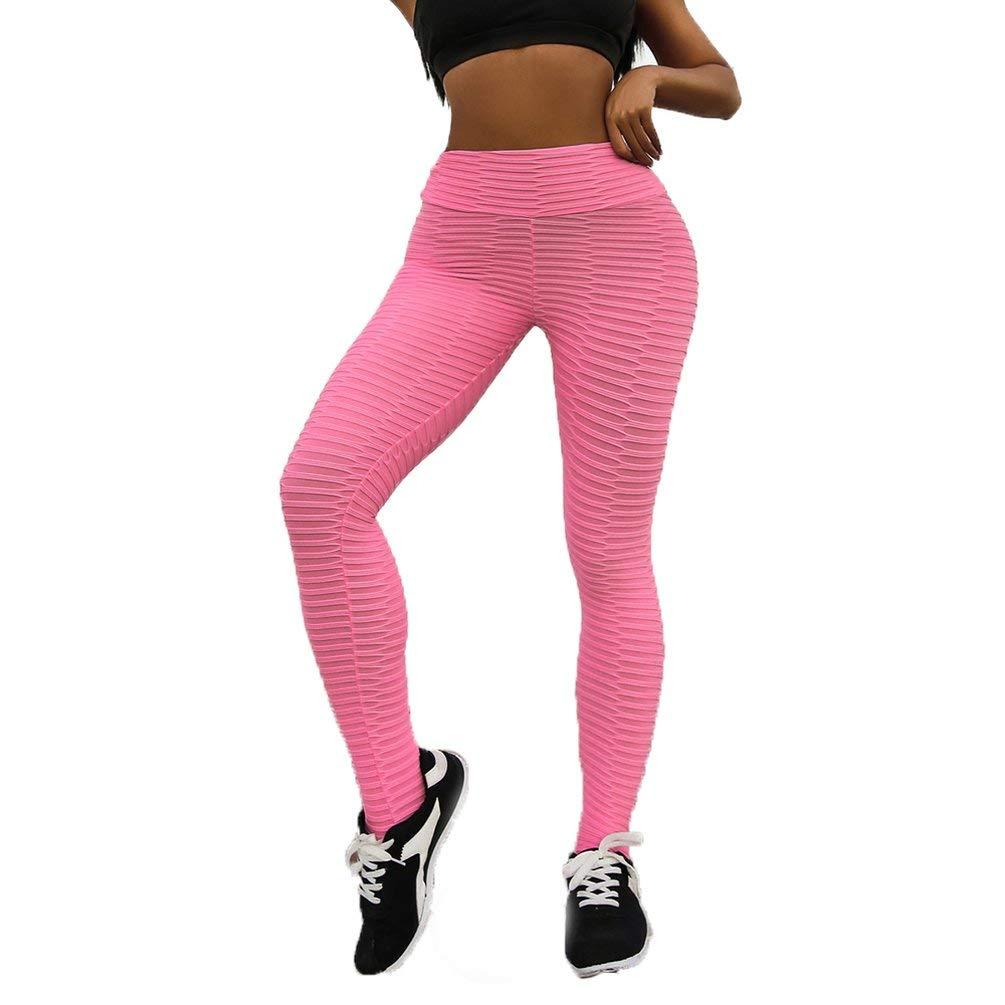Sweepingy Hip-up Yoga Pants Digital Printed Lady Pants High Waist Fitness Pants 7296 Pink S