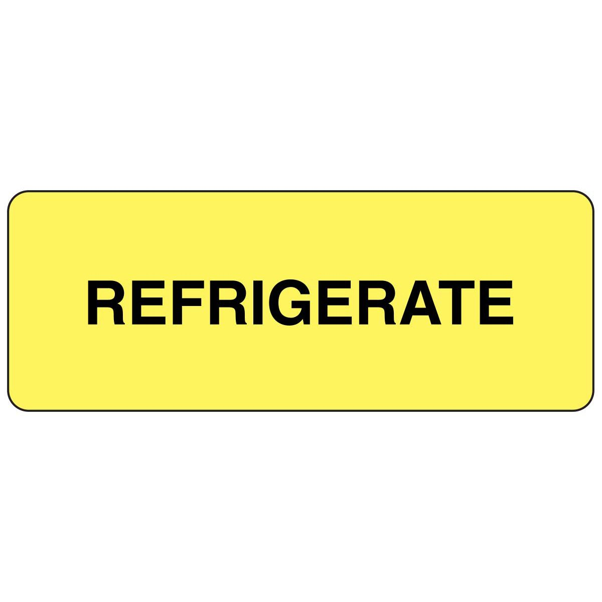 PDC Healthcare 59704143 Paper Label, Fluorescent Yellow Label with Black Text, ''Permanent Refrigerate'', 2'' Width x 0.75'' Length (Roll of 1000)