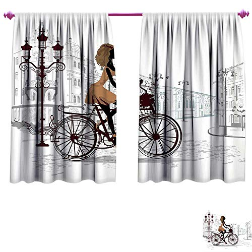 Teen Room Decor Room Darkening Wide Curtains Young Girl in Paris Streets with Bike French Display Waterproof Window Curtain W55 x L63 Chestnut and Light Brown Pearl