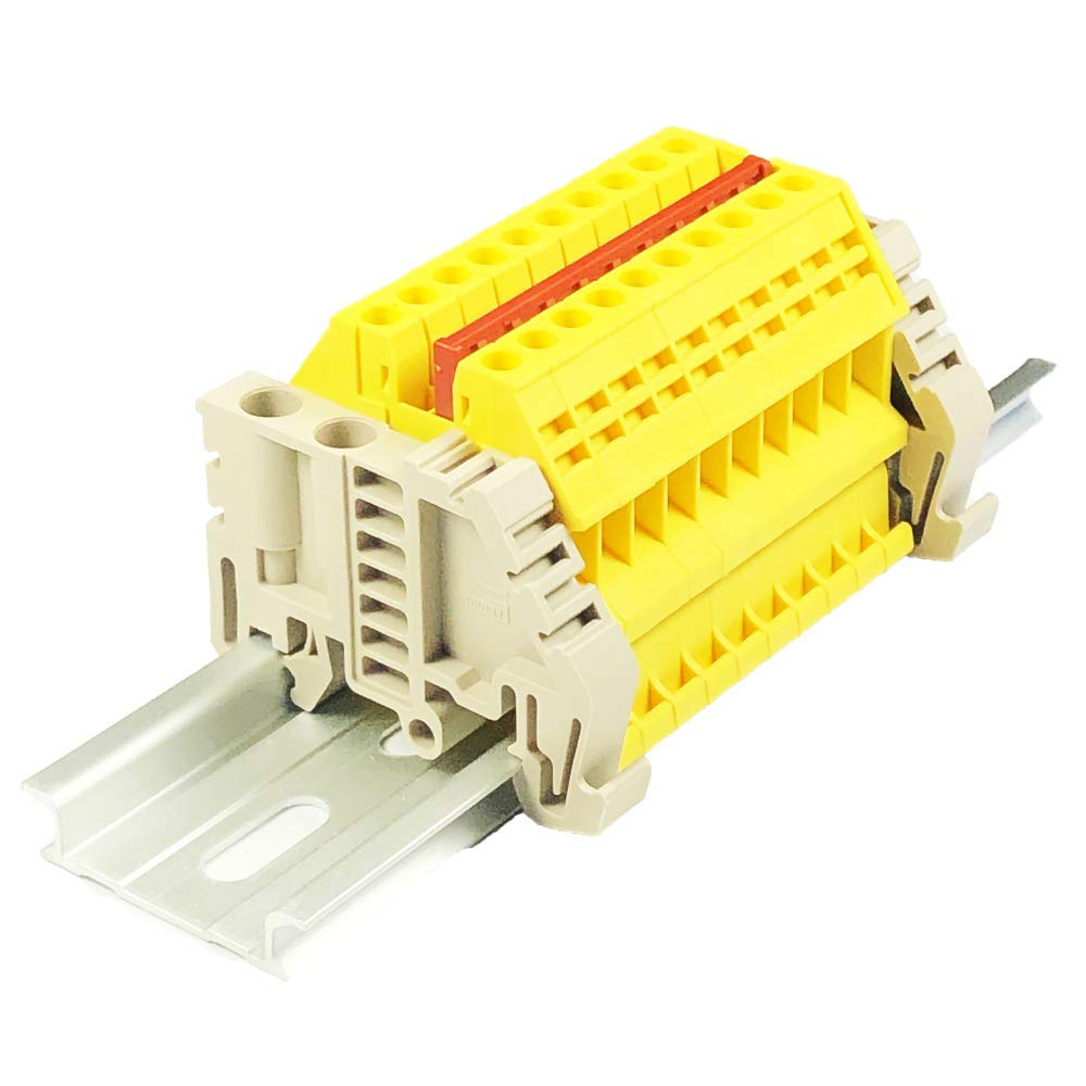 600 Volt Solar Combiner Yellow Dinkle Power Distribution DK2.5N-YW 10 Gang Box Connector DIN Rail Terminal Blocks 20 Amp 12-22 AWG