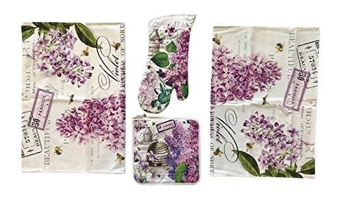 Michel Design Works 4 Piece Kitchen Linen Set - 2 Towels, Oven Mitt, Potholder (Lilac and Violets)