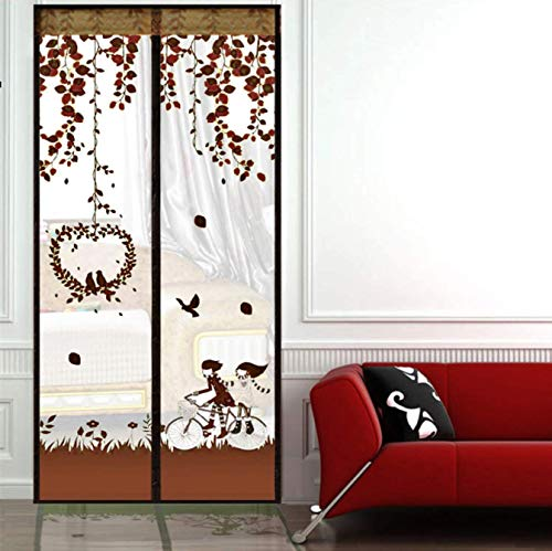 Pattern Screen - ESLETO Magnetic Screen Door with Variety of Patterns Reinforced Mesh Curtain and Full Magnetic Frame Loop Fits Doors Up to 34 x 82-Inch (Coffee)